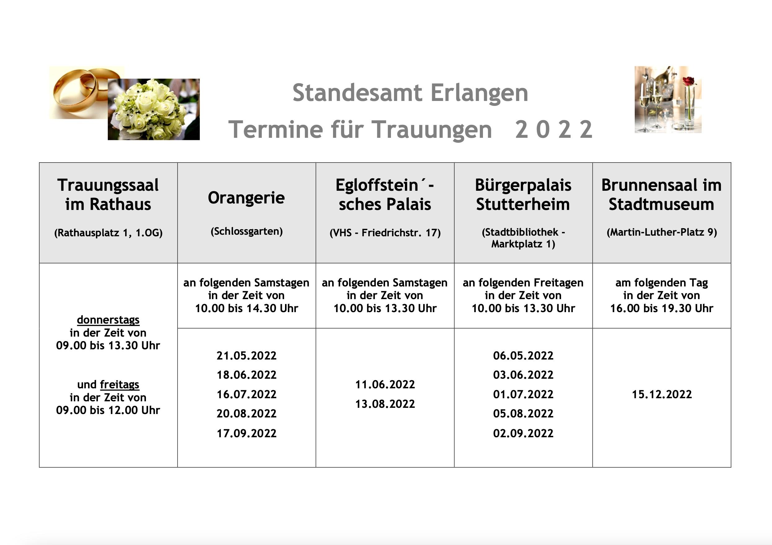Trautermine in Erlangen 2022