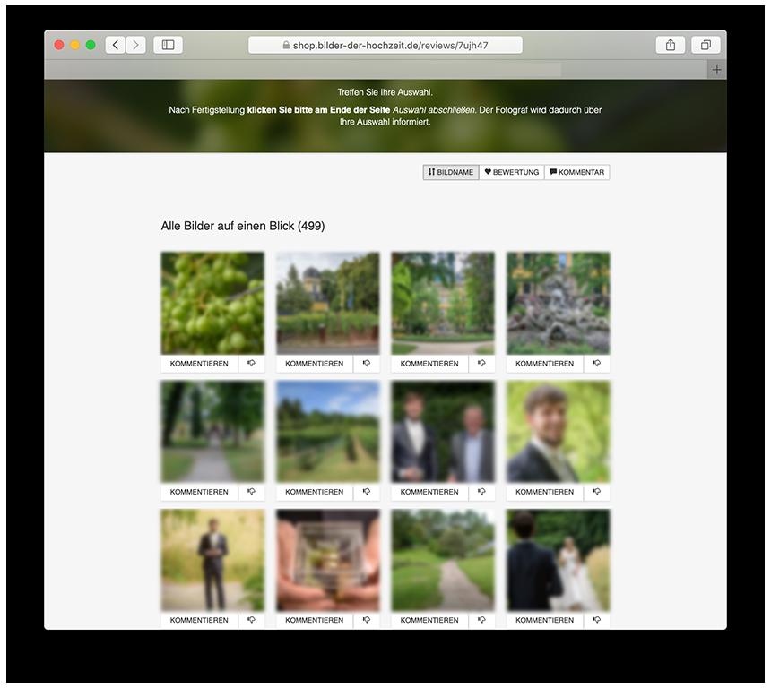 Feedbackgalerie zum auswählen der Bilder